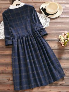 Vintage Plaid Print Patchwork Long Sleeve Dresses For Women - Women Outfits Vintage Girls Dresses, Stylish Dresses For Girls, Stylish Dress Designs, Dress Clothes For Women, Girls Fashion Clothes, Casual Dresses, Long Sleeve Vintage Dresses, Robes Vintage, Frock For Women