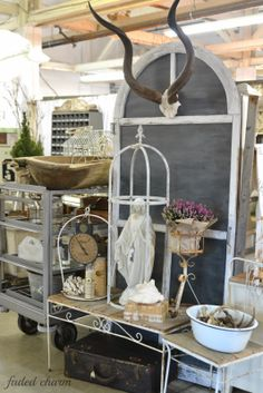 Faded Charm: ~Junk Salvation Show~     iron tables with wood top