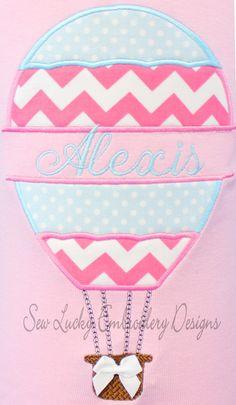 Split hot air balloon applique design - machine embroidery design