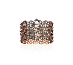 "Oceane: Hermes ""6 rows"" bracelet, black rhodium-plated and rose gold with 1,587 diamonds (14.94 carat), diameter 2""."