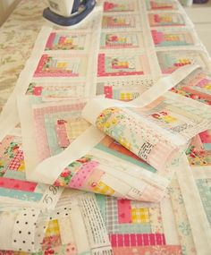1 inch log cabin quilt- pretty colors