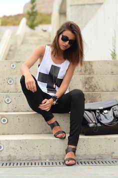 Ray bans. Black pants. Cool sandals. Style your Sevenly shirt like this! #sevenly