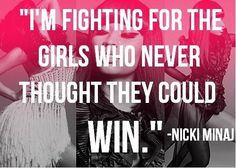 Nicki Minaj should not represent girls yet our society has accepted her, this says a lot about  what role models girls look to today.
