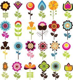 Folk Art Flowers, Retro Flowers, Flower Art, Draw Flowers, Flower Prints, Cartoon Flowers, Flower Ideas, Art Floral, Motif Floral