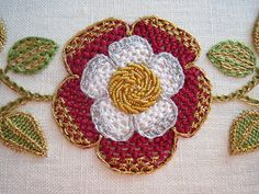 Thistle Threads - Carol-Anne Conway - Threads Across the Web: Tudor Rose - Part 4 Jacobean Embroidery, Blackwork Embroidery, Rose Embroidery, Silk Ribbon Embroidery, Embroidery Thread, Embroidery Ideas, Softies, Medieval Embroidery, Tudor Rose