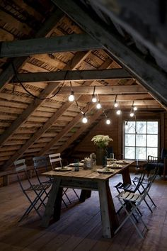 Wooden attic dining table and chairs - I want a house with an attic I can entertain in someday :-)
