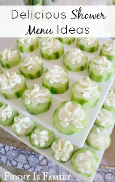 Adorable baby or bridal shower menu ideas, including Herbed Cream Cheese Cucumber Rounds and Curried Rice Pilaf. You have to see the clever vegetable cups!