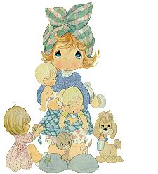 Precious Moments Clip Art   precious moments mother with children