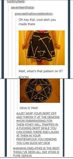 This is the supernatural fandom, people i want this skirt!