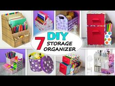Cardboard Box Storage, Cardboard Organizer, Cardboard Box Crafts, Storage Boxes, Storage Ideas, Desk Organization Diy, School Supplies Organization, Storage Organizers, Sewing Room Storage