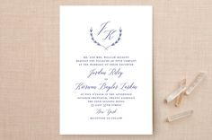"""United"" - Monogram, Classical Wedding Invitations in Cobalt by Susan Brown."