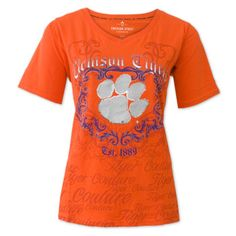 Clemson Tigers Ladies Sequin Couture V-Neck - Orange #clemson