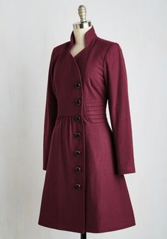 Few things brighten up a brisk day quite like stumbling upon a spontaneous performance in the park in this timeless burgundy coat! Part of our ModCloth namesake label, this warm layer features a stand-up collar, off-centered buttons, and pleated side panels, making it a gorgeous grand coda to your outdoor ensemble.