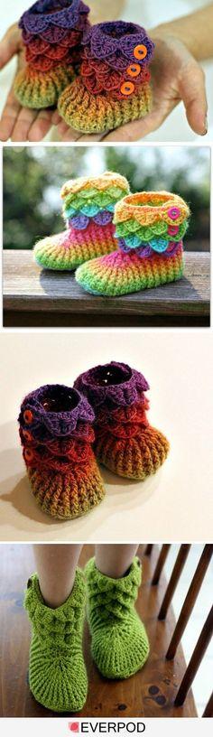 Crochet Slippers Crocodile Stitch by sweet.dreams