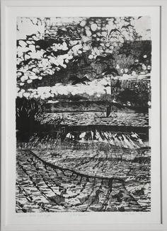 """159/7 - Jens Bohr: """"På vandet"""" (On the water). Signed Jens Bohr-04, Træsnit Unika Eget Tryk. Wood cut. Visible size 69 x 48.5 cm."""