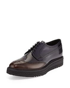 Rubber-Sole Leather Wing-Tip Derby Shoe, Blue/Brown by Prada at Neiman Marcus.
