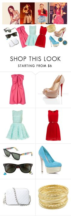 """""""copy the style from Ariana Grande"""" by fashionistablondie ❤ liked on Polyvore featuring CO, Valentino, Christian Louboutin, Topshop, Oasis, Ray-Ban, Miss KG, Rebecca Minkoff, Miso and Carla Amorim"""