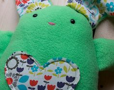 Olive Green Plush Love Bunny by beautifullyregular on Etsy