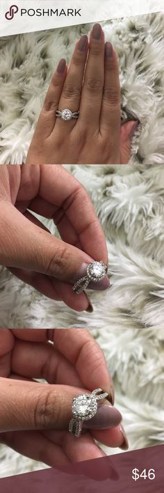 Sterling Silver CZ Ring Round cut with halo, and gorgeous micro paved zircon band. Genuine s925 silver, hand set, high polish finish. Gorgeous details on the setting. Dazzles in the light. Not from listed brand. Pandora Jewelry Rings