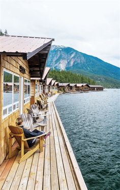 Relaxing at the Ross Lake Resort in North Cascades National Park, Washington