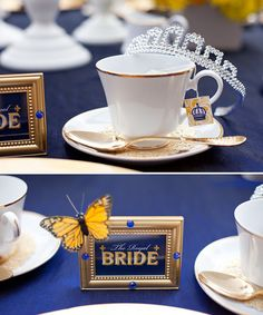 Royal Blue and Yellow.    LOVE the butterfly attached!
