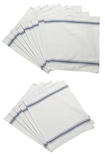 White 100% Cotton Glass Cloths with Blue stripe Detail  Cotton catering cloths in white with three blue stripes to each end available in packs of 5 or 10