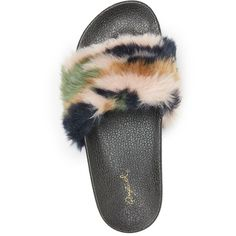 Qupid Faux Fur Slide Sandals ($18) ❤ liked on Polyvore featuring shoes, sandals, black, black slide sandals, black sandals, camo sandals, camouflage shoes and black flat shoes