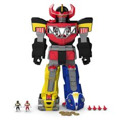 Unleash the power of the Fisher-Price Imaginext Blue Power Rangers Morphin Megazord. Your little power ranger will love all this Megazord has to offer, like awesome transformations, light up eyes, and an interactive Power Pad for Morphin action. Power Rangers Morphin, Power Rangers Megazord, Power Rangers Action Figures, Power Rangers Toys, Jouets Fisher Price, Fisher Price Toys, Toys For Boys, Kids Toys, Mega Pokemon