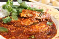 Durban Fish Curry by Yudhika Sujanani Tinned Tomatoes, Fish Curry, Curry Leaves, Fried Fish, Some Recipe, Seafood Dishes, Curry Recipes, Health Diet, Serving Dishes