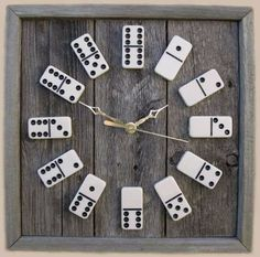 DIY Mancave Decor Ideas - Domino Clock - Step by Step Tutorials and Do It Yourself Projects for Your Man Cave - Easy DIY Furniture, Wall Art, Sinks, Coolers, Storage, Shelves, Games, Seating and Home Decor for Your Garage Room - Fun DIY Projects and Crafts for Men http://diyjoy.com/diy-mancave-ideas