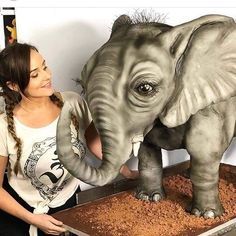 A Self-Taught Baker Creates Cakes, and We'd Rather Starve Than Eat Them Elephant Cakes, For Your Party, Sloth, Amazing Cakes, Garden Sculpture, 3 D, The Past, How To Make, Animals
