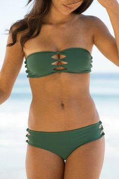 Mikoh Swimwear 2014 - Monaco Bikini Bandeau Seaweed - $100