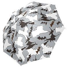InterestPrint Bats Ghost Witch Halloween Gifts Foldable Travel Rain Umbrella
