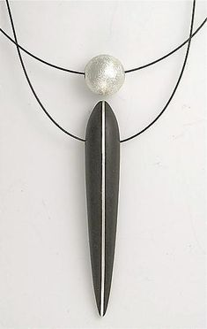 Ebony Pendant with Silver Inlay and Floating Silver Sphere: Suzanne Linquist: Wood & Silver Necklace - Artful Home