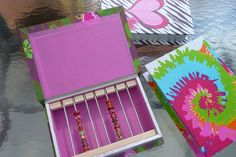 Holds 90 PLUS Beads - Tie Dye - Display bead boxes for large hole Trollbead lampwork glass beads Jewelry earring holder Storage Box OOAK. $42.99, via Etsy.