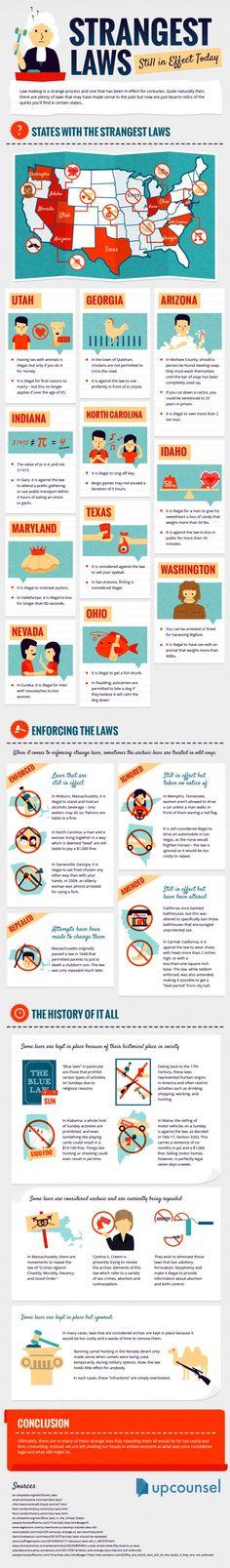 Strangest Laws Still in Effect Today #infographics #america #strange