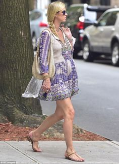 Bumping along: Nicky Hilton, 32, looked effortlessly glamorous as she paraded her baby bump around NYC on Monday
