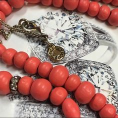 "J. Crew Coral Wood & Crystal Bead Necklace 36"" Make a statement with this lightweight and dainty piece! Excellent condition! J. Crew Jewelry Necklaces"