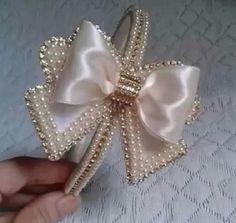 Tiara lace with pearl luxury beige Baby Hair Bows, Ribbon Hair Bows, Baby Headbands, Ballet Hairstyles, Diy Hairstyles, Cute Cheer Bows, Flower Hats, Flower Bun, Flower Crown