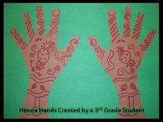 After I read Hannah the Henna Helper to my 3rd grade art class, the students made their own henna designs on paper hands.
