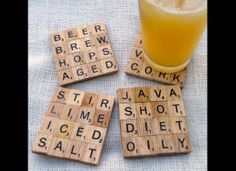 Homemade Gift Ideas: Quick and Easy Last-Minute Gifts-Scrabble coasters. I just love this one!