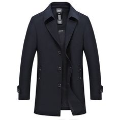 Mens Business Casual Trench Coat Single Breasted Solid Color Thin Jacket