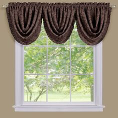Sutton Damask Blackout Waterfall Valance - 36'' x 48'', Brown
