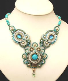 Beaded Soutache necklace in Dark Turquoise, Green, Silver and Cream