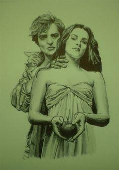 "Robert Pattinson And Kristen Stewart As ""Edward Cullen And Bella Swan In The Twilight Saga"" Drawing...."