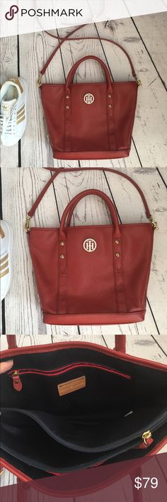 """%100 leather Tommy Hilfiger red satchel crossbody Bought last year, never used it. %100 leather, 14"""" X 10"""" Tommy Hilfiger Bags Satchels"""