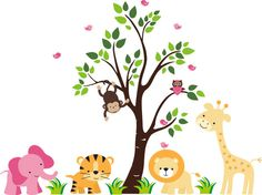 Mural wall:simple tree, cute grass, animal placement is great