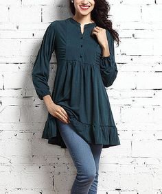 This polished pick combines an easy-matching solid shade with soft stretch fabric, making it an easy go-to for the comfort-minded style maven. Shipping note: This item is made for zulily. Allow extra time for your special find to ship. Short Kurti Designs, Simple Kurti Designs, Kurta Designs, Blouse Designs, Dress Designs, Stylish Dresses, Casual Dresses, Hijab Fashion, Fashion Dresses