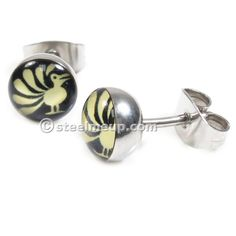 Pair Stainless Steel Round Peacock Post Stud Earrings 8mm