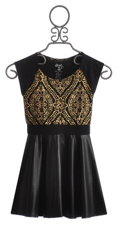 ab2bcda7577 Flowers By Zoe Black Party Dress with Gold Print Black Party Dresses